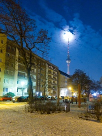 Moon and Fernsehturm, from Mitte