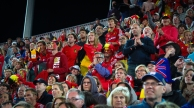 Belgium fans watch Olympic Men's Hockey: Belgium vs South Korea
