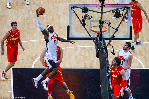 LeBron James goes for a slam dunk, USA Spain Olympic Basketball Final, August 12th 2012