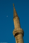 Blue Mosque Minaret and Moon, Sunrise