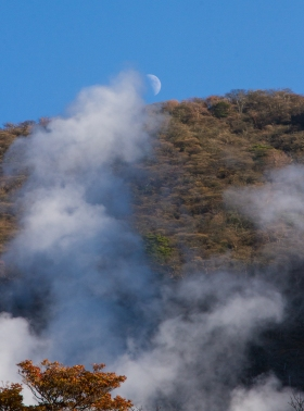 Sulphur Steam and the Moon Rising, Owakaduni, Hakone