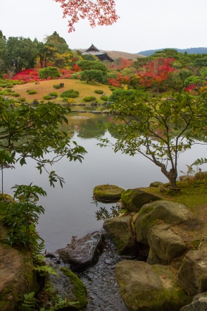 Pond and Todaji Temple Gate, Isuien Garden, Nara Park