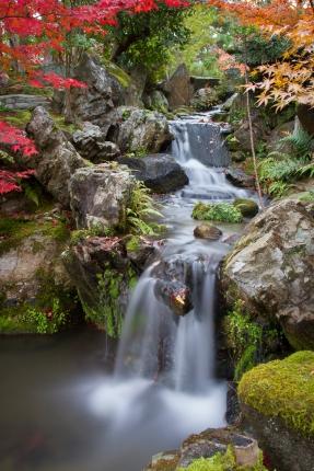 Flowing waterfall, Isuien Garden, Nara Park