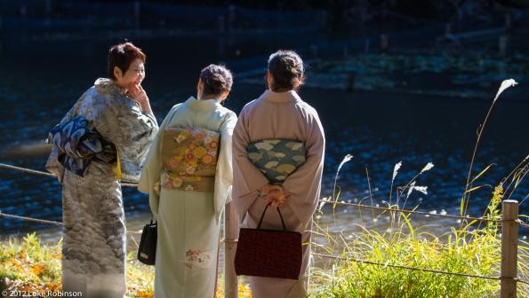 Kimono-clad women laughing together, Meiji Garden