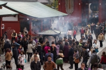 Crowds around incense smoke, Senso-ji Temple, Asakusa