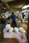 Frozen tuna waiting to be sawn apart, Tsukiji FishMarket