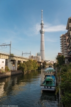 Approaching the Tokyo Sky Tree from the canal