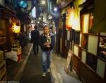 """A man and his dog, Shomben Yokocho (""""Piss Alley""""),Shinjuku"""