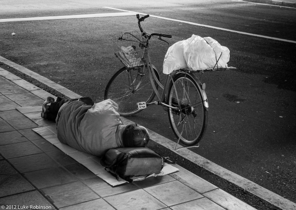 Homeless Man under Overpass, Osaka