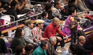 Fans enjoying sumo, Fukuoka Kokusai
