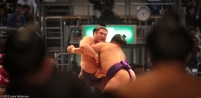 Maku-uchi class sumo match viewed from the fighter's tunnel, Fuk