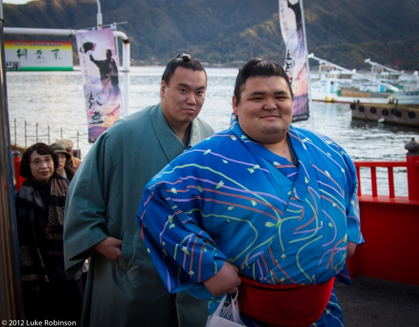 Sumo rikishi on the Miyajima Ferry