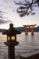 The famous Torii Gate of the Itsukushima Shrine with Lantern, Mi
