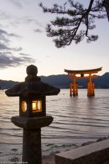 The famous Torii Gate of the Itsukushima Shrine with Lantern, Mi