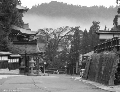 Misty morning streets of Koya-san