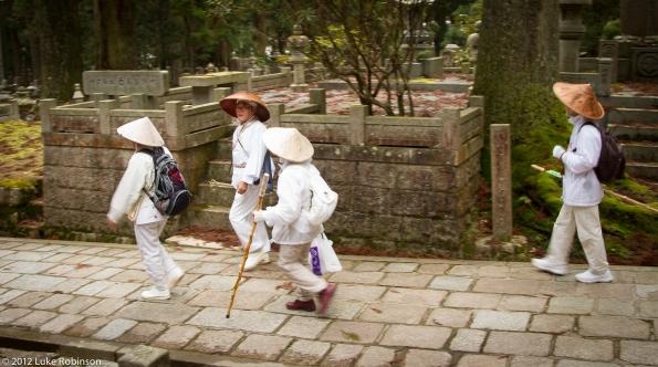 Shingon Buddhist pilgrims, Oku-no-in Cemetery, Koya-san