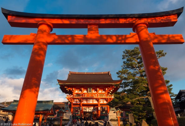 Giant torii gate at entrance to Fushimi Inari Shrine, Kyoto