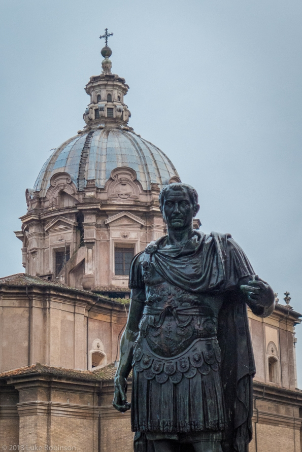 Statue of Julius Caesar and Santi Luca e Martina, Roman Forum
