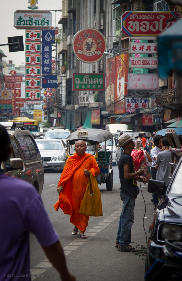 Buddhist Monk on Yaowarat Road, Bangkok